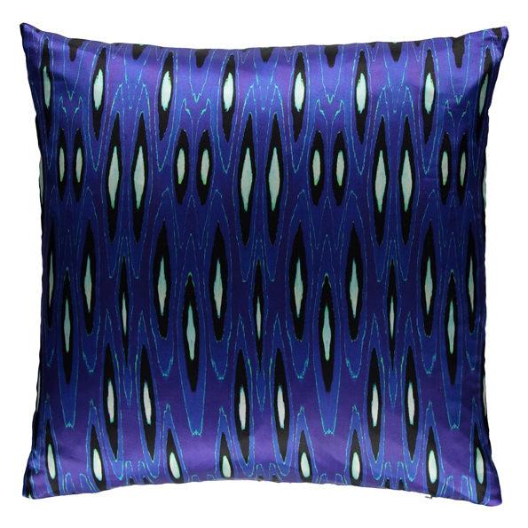 Coco Ikat Long Cobalt silk square pillow