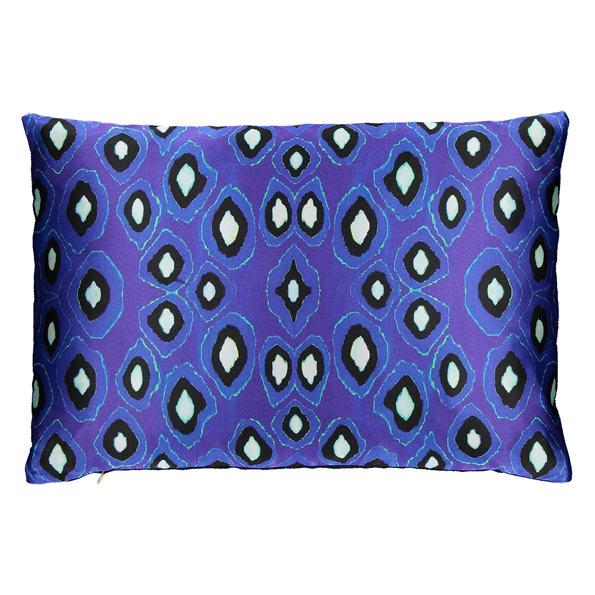 Coco Ikat Cobalt silk rectangular pillow