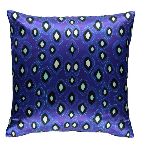 Coco Ikat Cobalt silk square pillow | Mariska Meijers