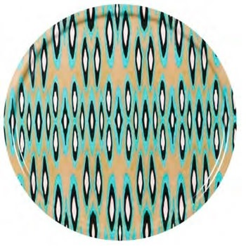 Coco Ikat Long Turquoise birch wood tray