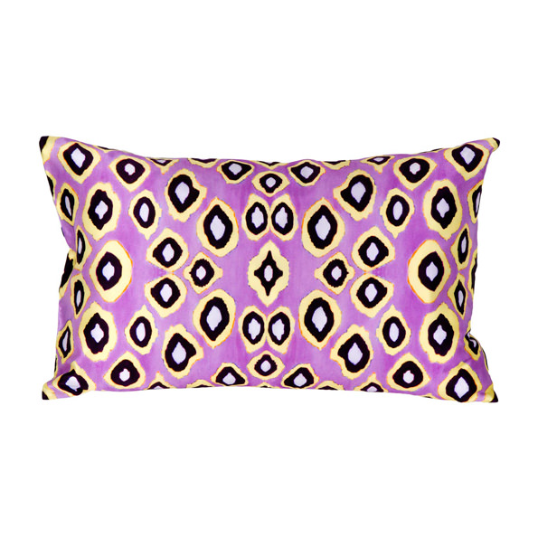 Coco Ikat Pink silk rectangular pillow