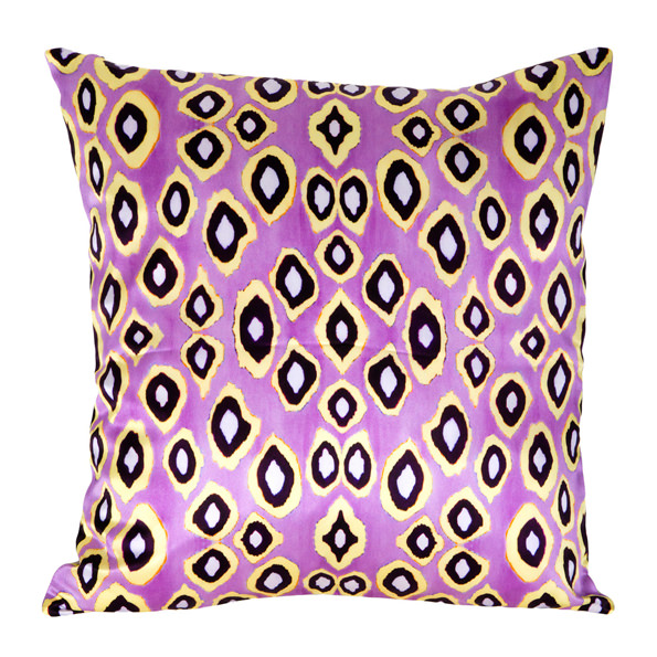 Coco Ikat Pink silk square pillow