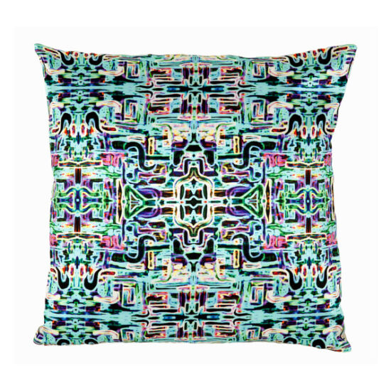 Jungle Fever Turquoise silk square pillow