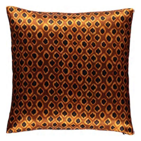 Micro Ikat Ocre silk square pillow