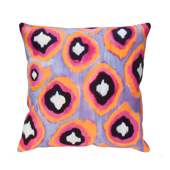 Painted Ikat silk square pillow