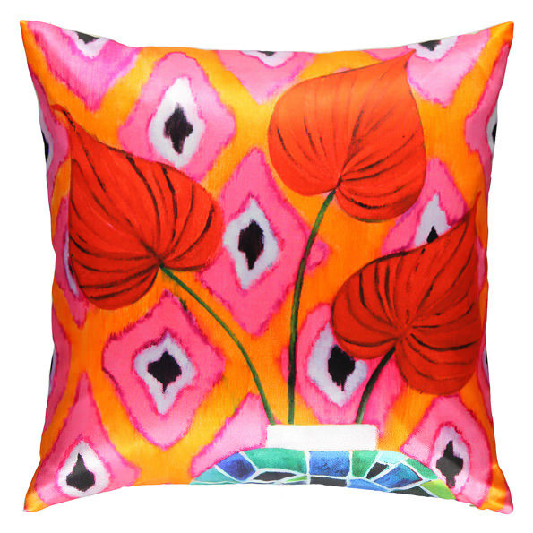 Red Flamingo birch wood Pillow