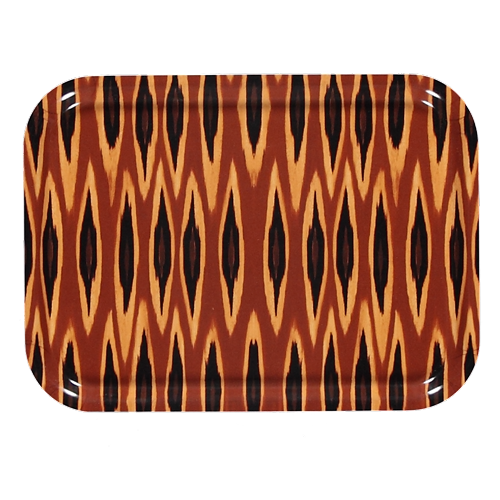 Tribal ikat long ocre tray