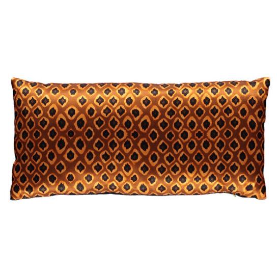 Micro Ikat Ocre silk rectangular pillow