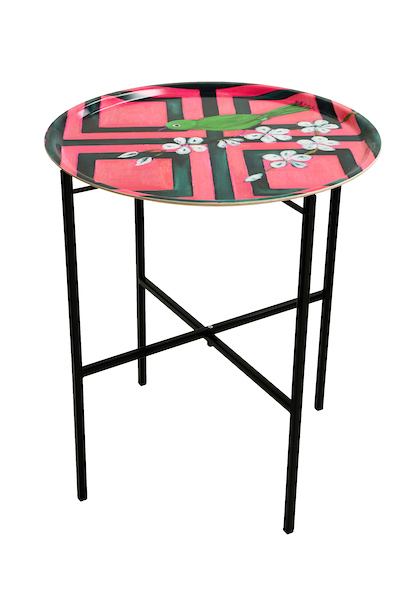 Trellis Bird Pink tray table