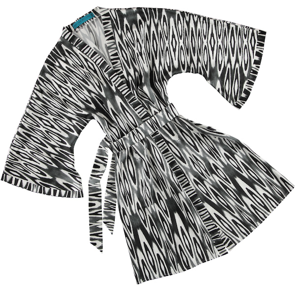 Coco Ikat Long Black silk Kimono