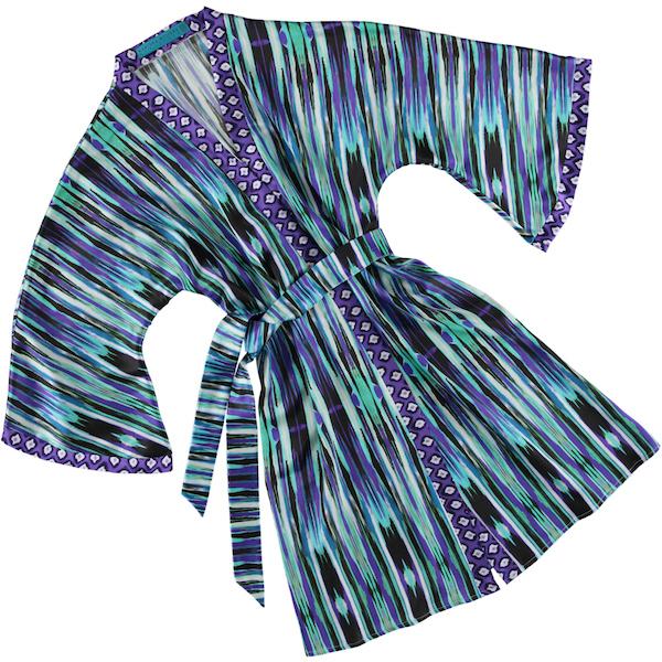 Zesty ikat long blue silk kimono