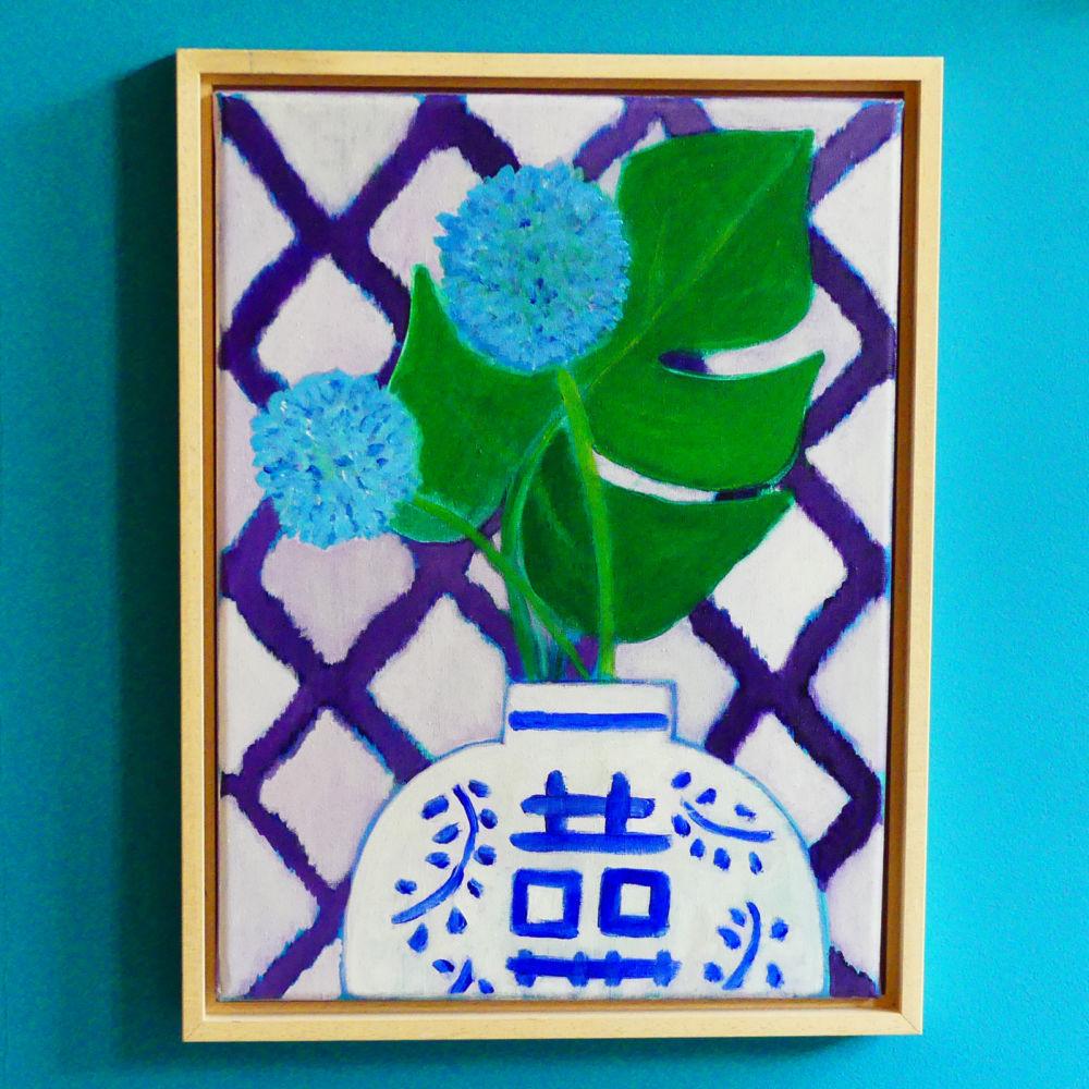 Blue allium in Chinese vase
