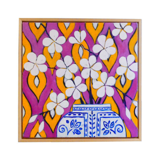 Frangipani in Chinese vase and ikat