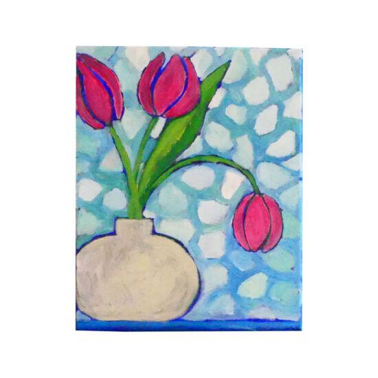 Pink tulip in white vase