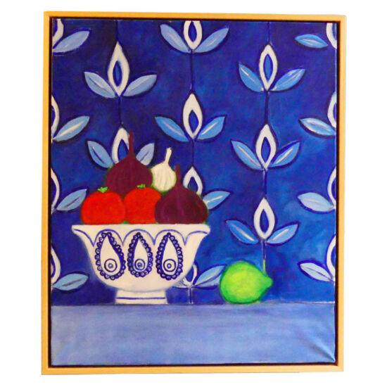 Vegatables in blue white bowl