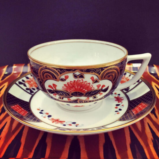 Vintage hand painted and gilded Japanese tea cup & saucer