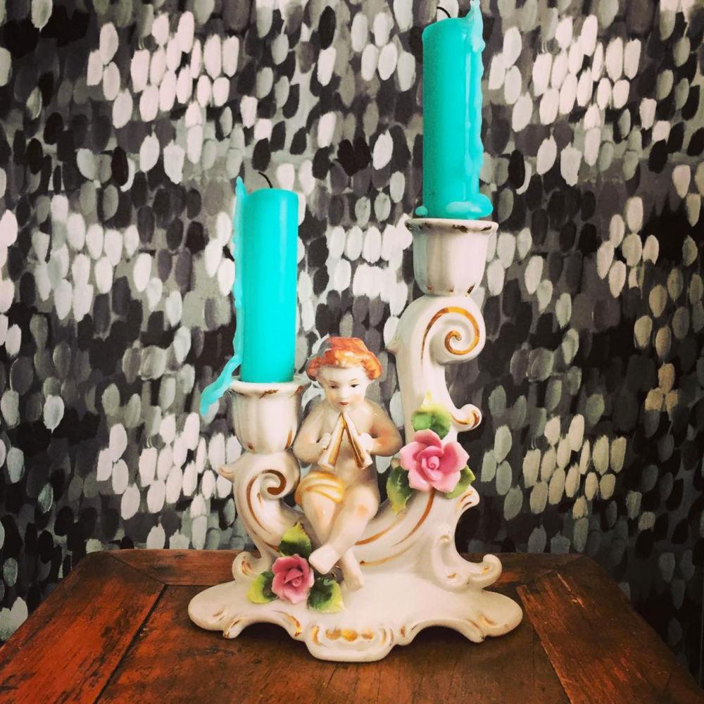 Porcelain vintage candlestick | Mariska Meijers Amsterdam