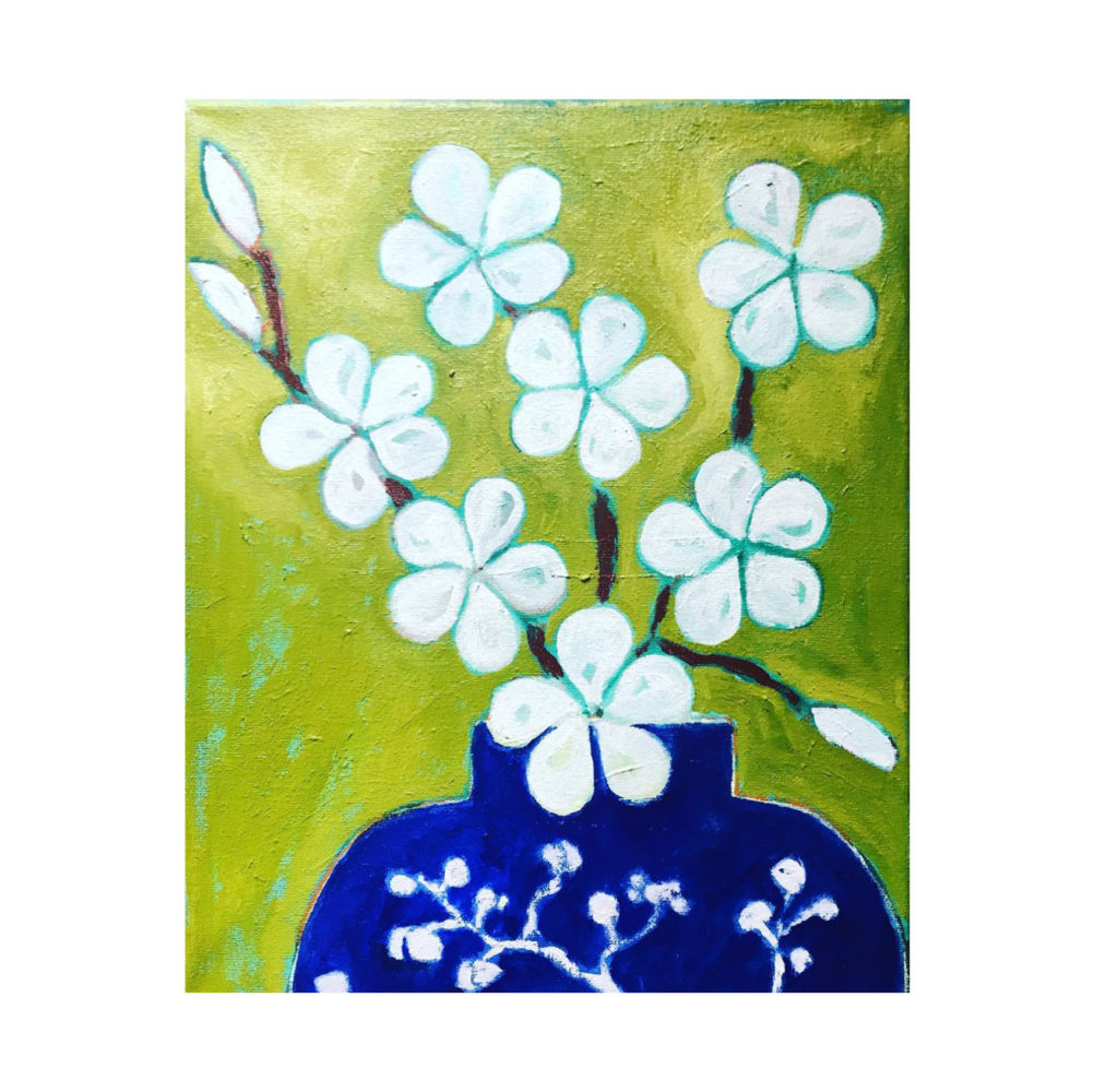 Blossom in blue vase   Art   Mariska Meijers Amsterdam