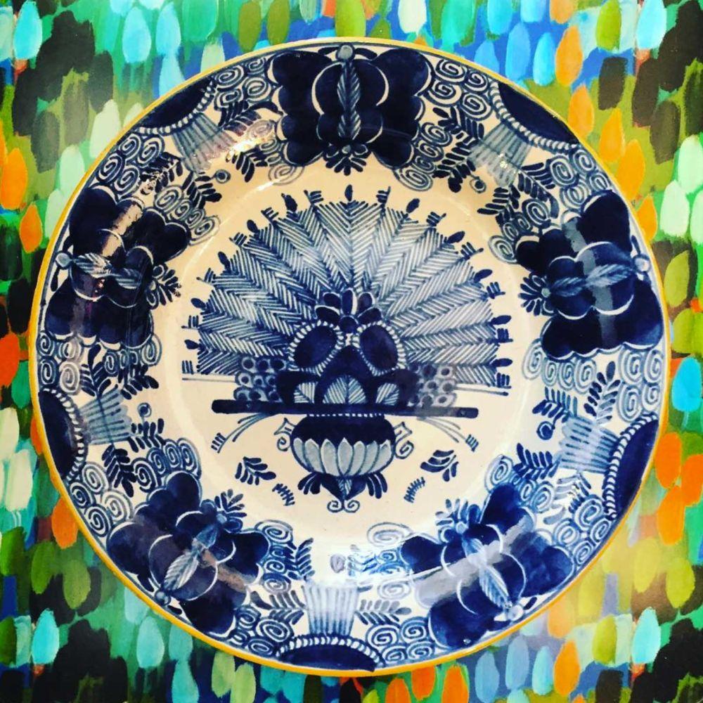 Delftware peacock plate - vintage - Mariska Meijers