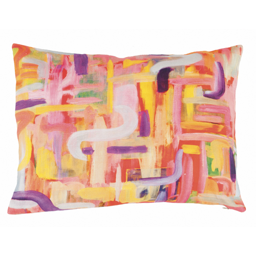 Abstract Neon Linen Pillow | Mariska Meijers Amsterdam