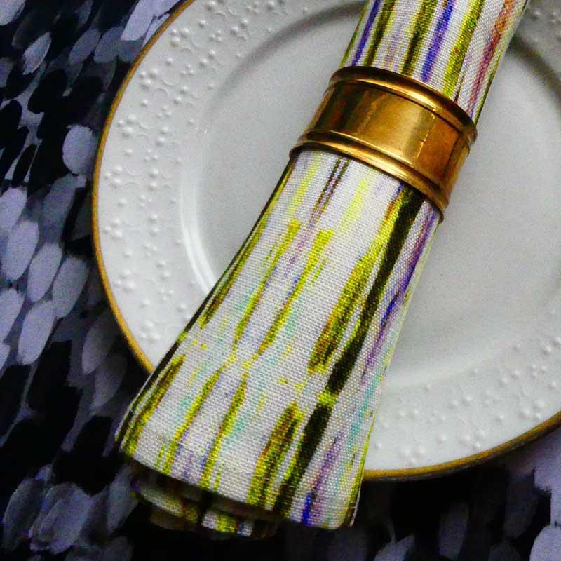 Botanical Stripes Linen Napkin | Mariska Meijers Amsterdam