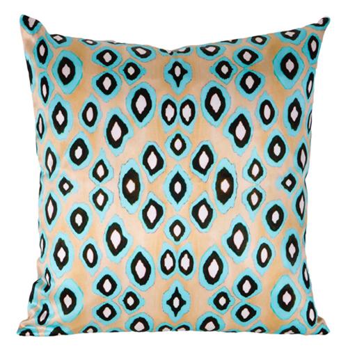 Coco Ikat Turquoise Cotton Pillow | Mariska Meijers Amsterdam psd