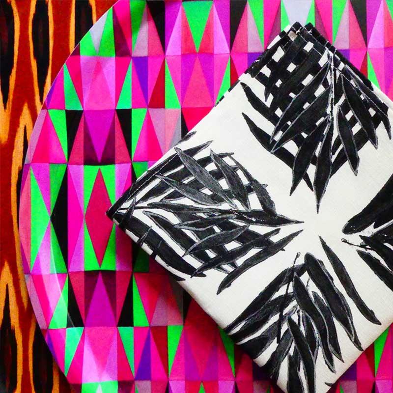 Palm Beach BW Linen Napkin | Mariska Meijers Amsterdam
