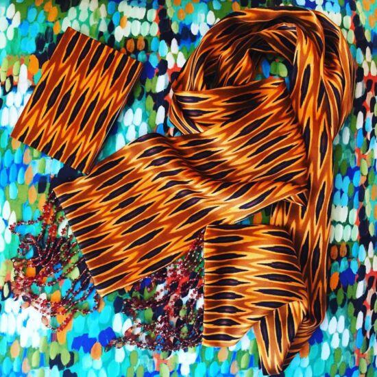 Tribal Ikat Ocre Silk Skinny Scarf | Mariska Meijers Amsterdam