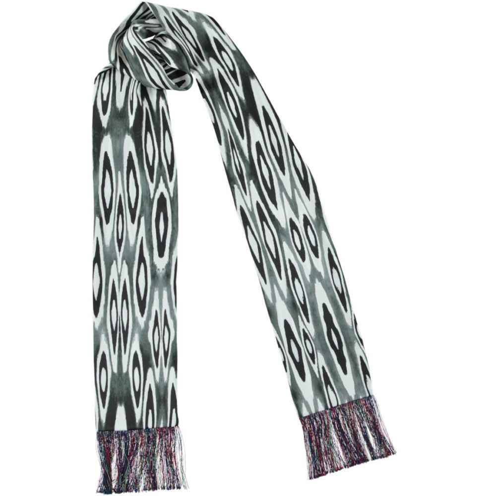 coco ikat black fringed skinny scarf | Mariska Meijers Amsterdam