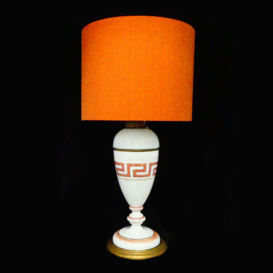 Porcelain and brass lampbase with orange silk shade