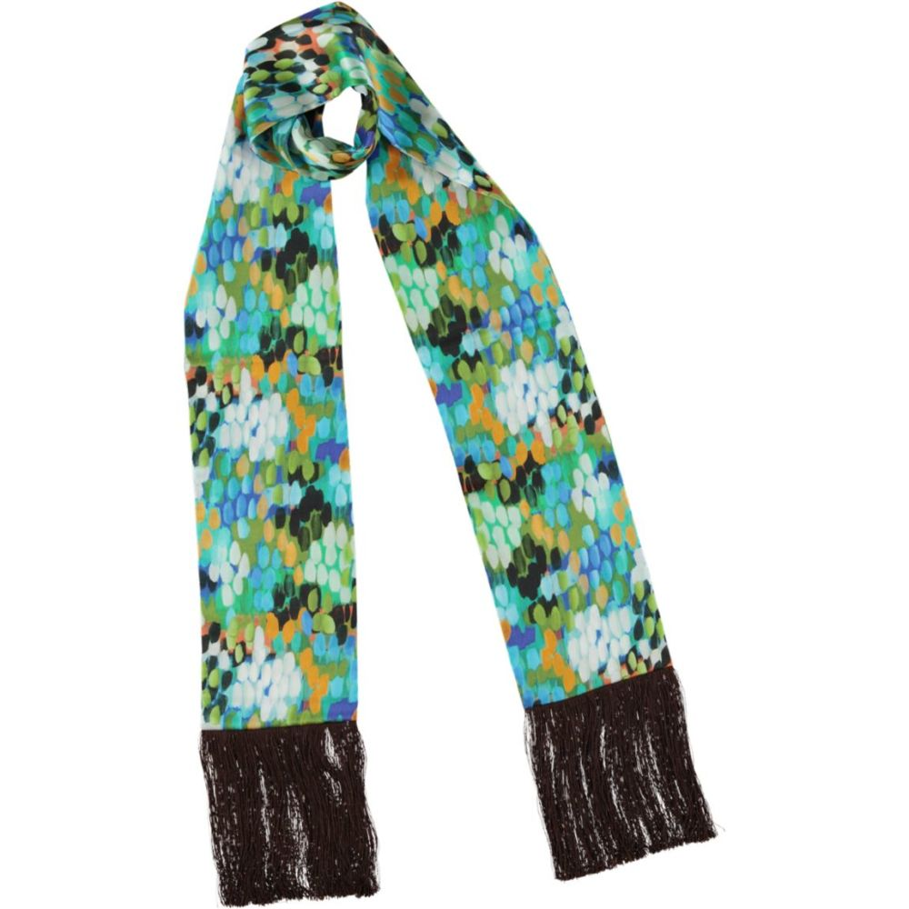 tulipa brown fringed skinny scarf_mma1
