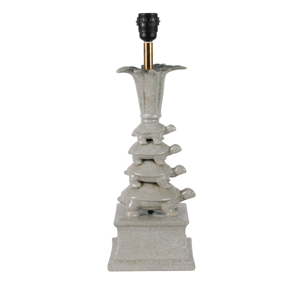 Porcelain Turtle Tower Lamp Stand, White | Mariska Meijers Amsterdam