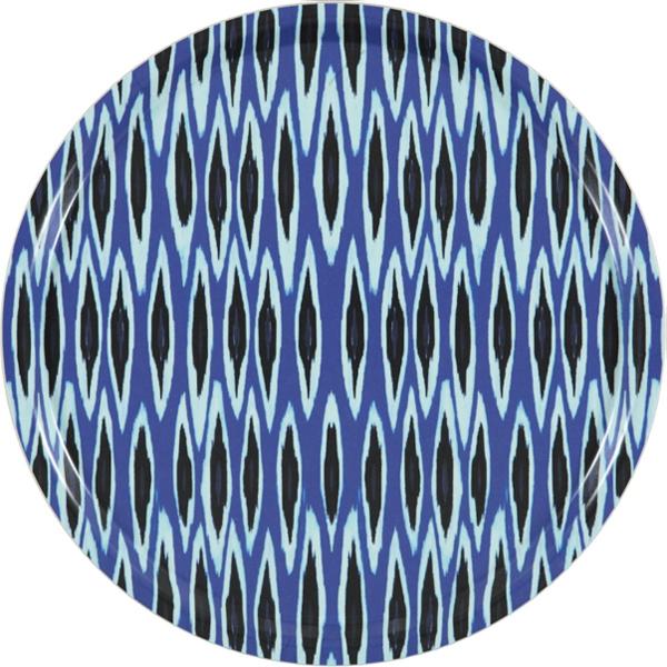 Tribal Ikat Blue Tray Round - Mariska Meijers Amsterdam